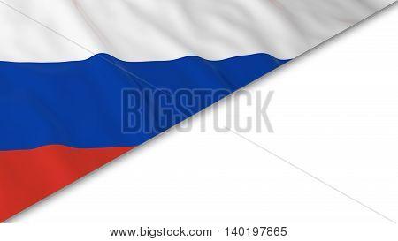 Russian Flag Corner Overlaid On White Background - 3D Illustration