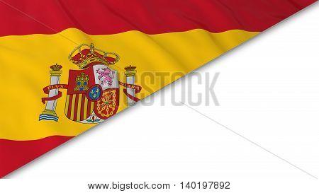 Spanish Flag Corner Overlaid On White Background - 3D Illustration