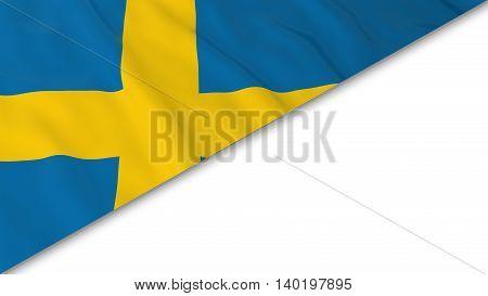 Swedish Flag Corner Overlaid On White Background - 3D Illustration