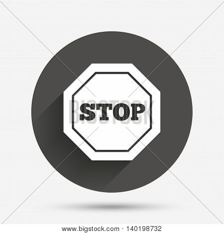 Traffic stop sign icon. Caution symbol. Circle flat button with shadow. Vector