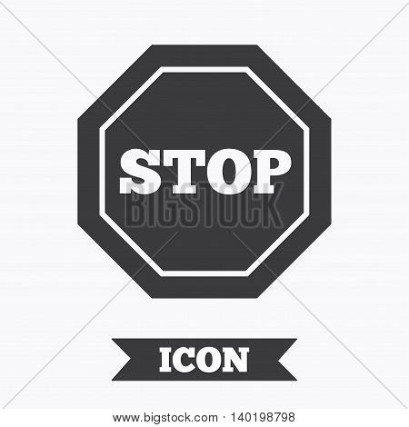 Traffic stop sign icon. Caution symbol. Graphic design element. Flat stop symbol on white background. Vector