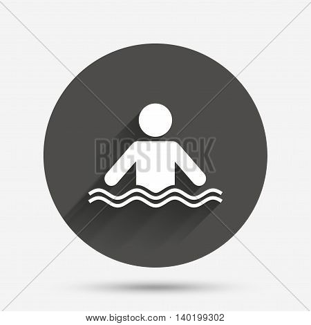 Swimming sign icon. Pool swim symbol. Sea wave. Circle flat button with shadow. Vector