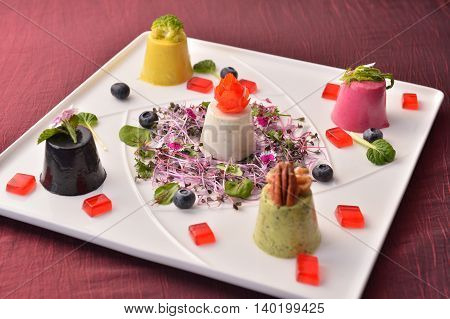 Special cupcake in chinese style with salad on white plate