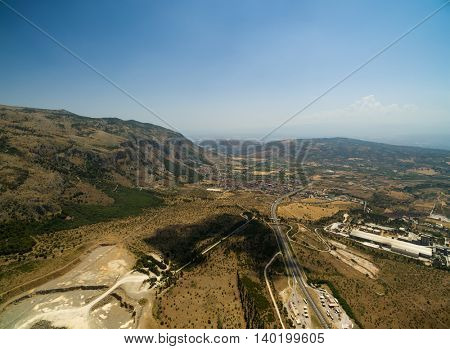 Aerial View of Sicily Highway in Italy