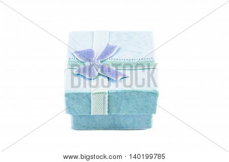 Classic blue color paper small gift box for present wrapping with white background