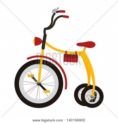 Tricycle on white background. Isolated bycicle for kid.