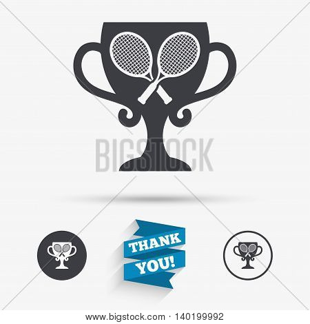 Tennis rackets sign icon. Sport symbol. Winner award cup. Flat icons. Buttons with icons. Thank you ribbon. Vector