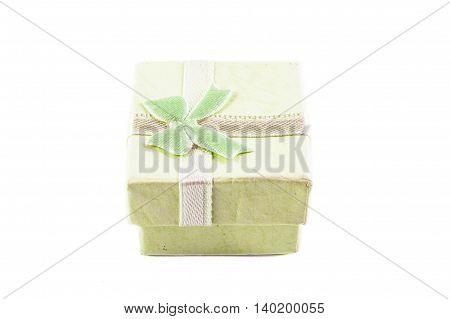 Classic green color paper small gift box for present wrapping with white background