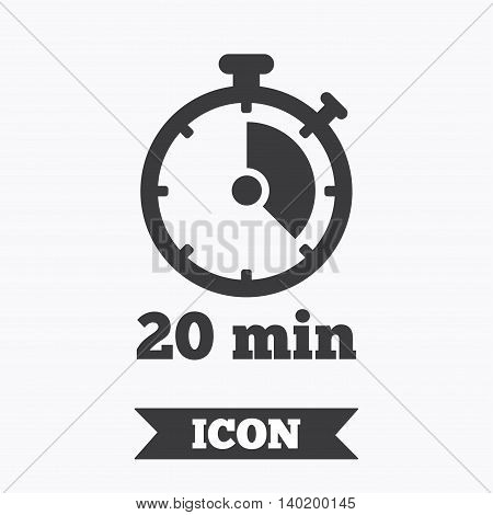 Timer sign icon. 20 minutes stopwatch symbol. Graphic design element. Flat timer symbol on white background. Vector