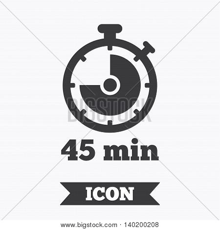 Timer sign icon. 45 minutes stopwatch symbol. Graphic design element. Flat timer symbol on white background. Vector