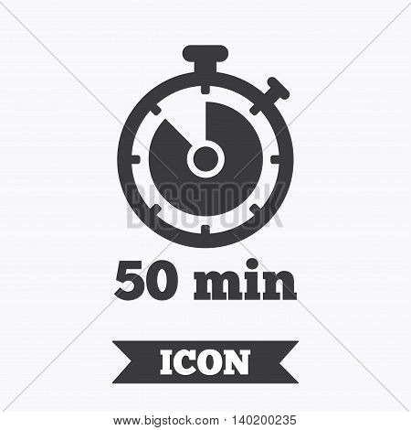 Timer sign icon. 50 minutes stopwatch symbol. Graphic design element. Flat timer symbol on white background. Vector