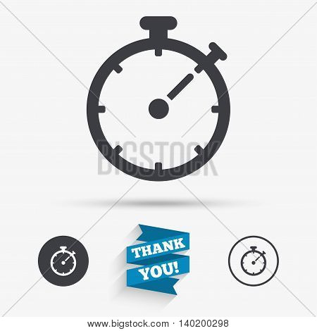 Timer sign icon. Stopwatch symbol. Flat icons. Buttons with icons. Thank you ribbon. Vector