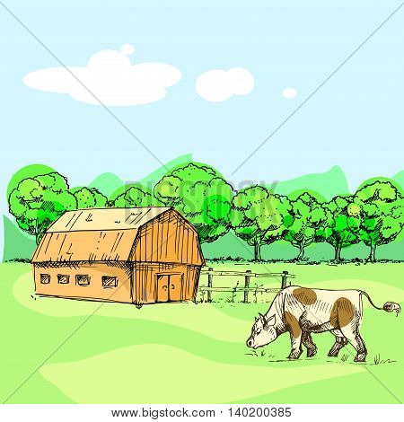 Hand drawn vector illustration of farm, cow, fence, trees, grass. sketch. Vector eps 10