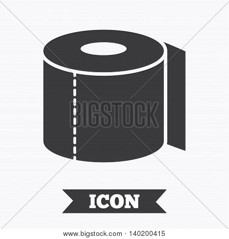 Toilet paper sign icon. WC roll symbol. Graphic design element. Flat toilet paper symbol on white background. Vector