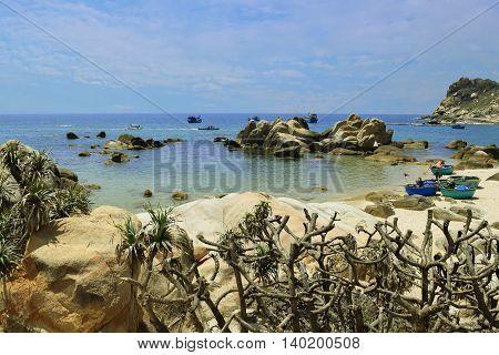 beautiful tropical beach with many rocks on the shore in ke ga near muine vietnam