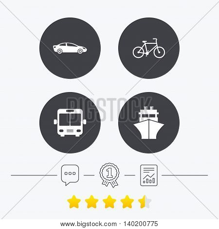 Transport icons. Car, Bicycle, Public bus and Ship signs. Shipping delivery symbol. Family vehicle sign. Chat, award medal and report linear icons. Star vote ranking. Vector