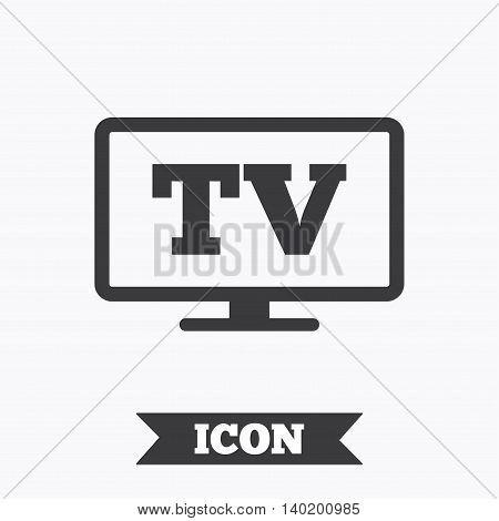 Widescreen TV sign icon. Television set symbol. Graphic design element. Flat tV symbol on white background. Vector