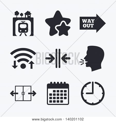 Underground metro train icon. Automatic door symbol. Way out arrow sign. Wifi internet, favorite stars, calendar and clock. Talking head. Vector