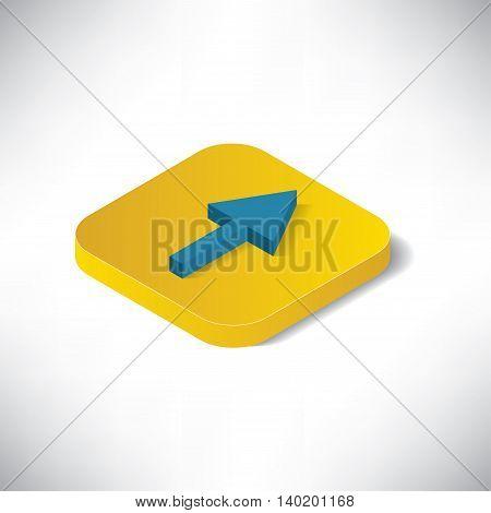 Arrow Button Isomatric on Grey Background EPS