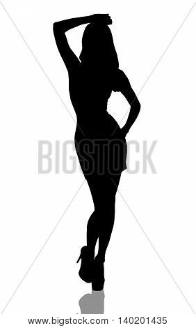 Stylish silhouette of beautiful woman posing isolated white background
