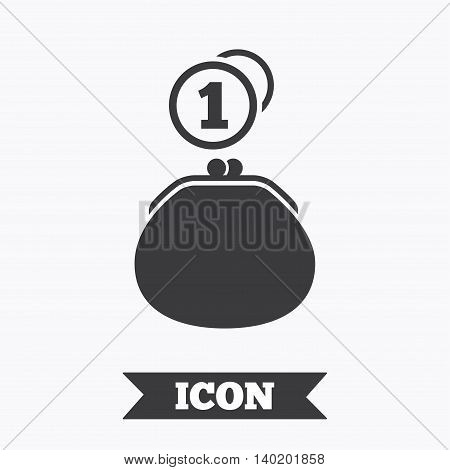 Wallet sign icon. Cash coins bag symbol. Graphic design element. Flat wallet cash symbol on white background. Vector