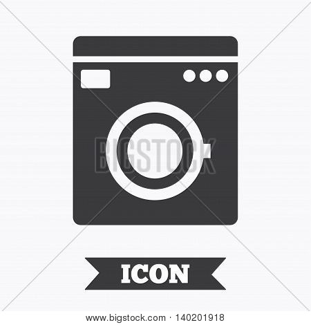Washing machine icon. Home appliances symbol. Graphic design element. Flat washing machine symbol on white background. Vector