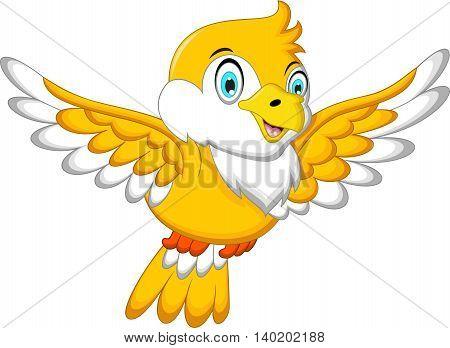 Cute Yellow bird cartoon flying for you design