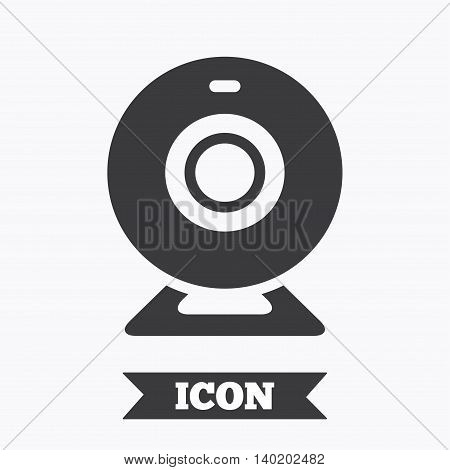Webcam sign icon. Web video chat symbol. Camera chat. Graphic design element. Flat web camera symbol on white background. Vector