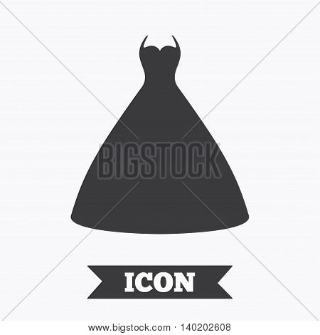 Woman dress sign icon. Elegant bride symbol. Graphic design element. Flat wedding dress symbol on white background. Vector