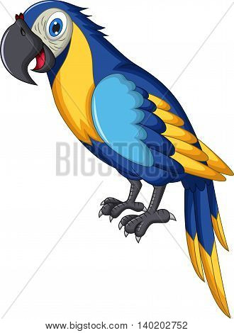 cute blue and yellow parrot cartoon standing