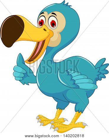 cute dodo bird cartoon standing with thumb up