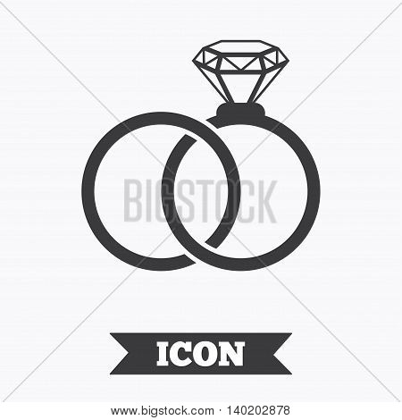 Wedding rings sign icon. Engagement symbol. Graphic design element. Flat wedding rings symbol on white background. Vector