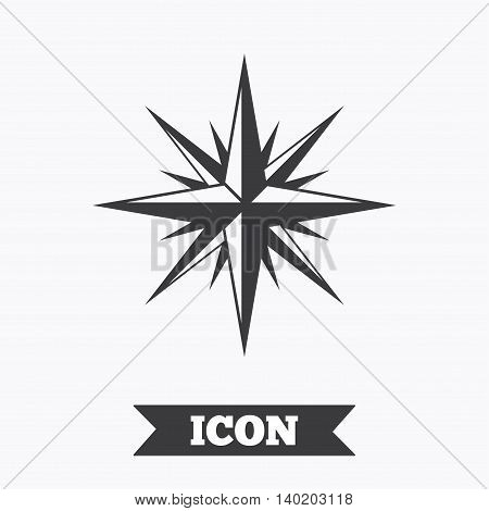 Compass sign icon. Windrose navigation symbol. Graphic design element. Flat windrose symbol on white background. Vector