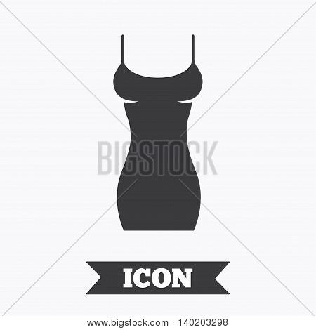 Women dress sign icon. Intimates and sleeps symbol. Graphic design element. Flat women dress symbol on white background. Vector