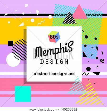 Trendy memphis cards design. 1980s background template. Vector eps 10 format.