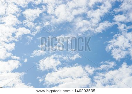 Look up to the bright cloudy blue sky