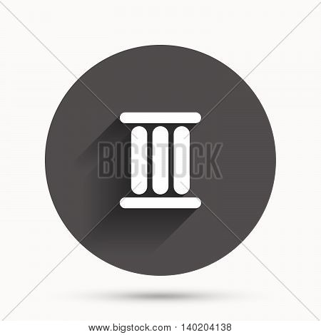 Roman numeral three sign icon. Roman number three symbol. Circle flat button with shadow. Vector