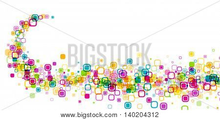Banner with whirl of color geometric pattern. Vector paper illustration.