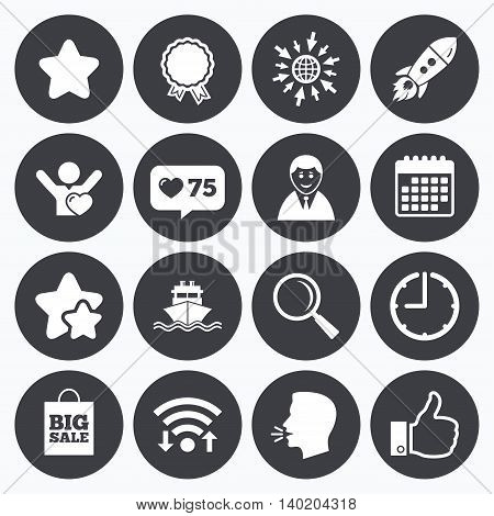 Calendar, wifi and clock symbols. Like counter, stars symbols. Online shopping, e-commerce and business icons. Start up, award and customers like signs. Big sale, shipment and favorite symbols. Talking head, go to web symbols. Vector