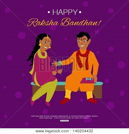 Young happy brother and sister celebrating Raksha Bandhan tying rakhi. Indian traditional holiday background. Vector eps 10 format.