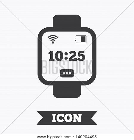 Smart watch sign icon. Wrist digital watch. Wi-fi and battery energy symbol. Graphic design element. Flat smart watch symbol on white background. Vector
