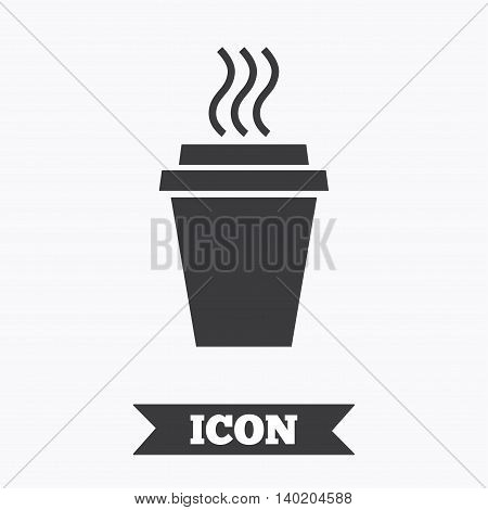 Take a Coffee sign icon. Hot Coffee cup. Graphic design element. Flat take coffee symbol on white background. Vector