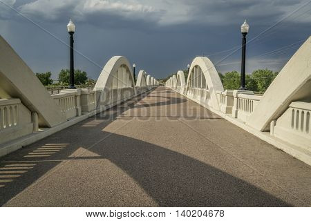 Rainbow arch bridge over South Platte River in Fort Morgan, Colorado