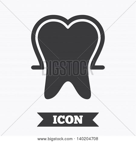Tooth enamel protection sign icon. Dental toothpaste care symbol. Healthy teeth. Graphic design element. Flat tooth protection symbol on white background. Vector