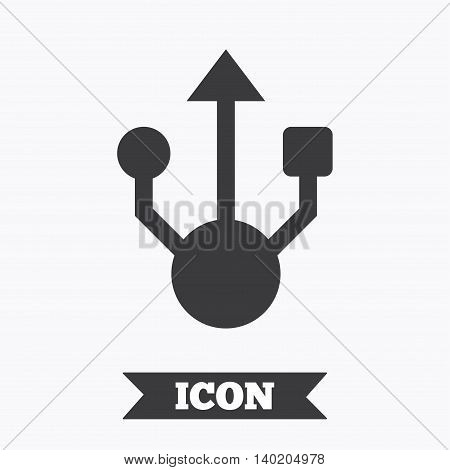 Usb sign icon. Usb flash drive symbol. Graphic design element. Flat flash drive symbol on white background. Vector