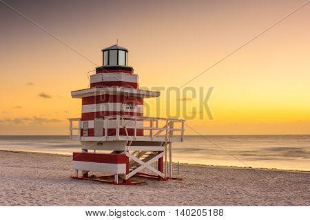 Miami Beach, Florida, USA at dawn.