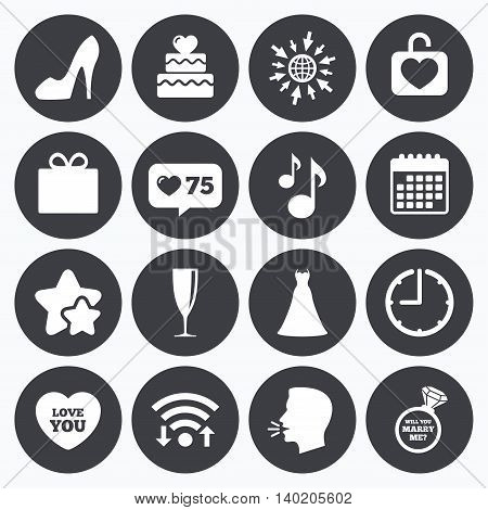 Calendar, wifi and clock symbols. Like counter, stars symbols. Wedding, engagement icons. Cake with heart, gift box and brilliant signs. Dress, shoes and musical notes symbols. Talking head, go to web symbols. Vector