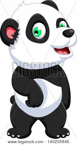 funny panda cartoon posing look at camera