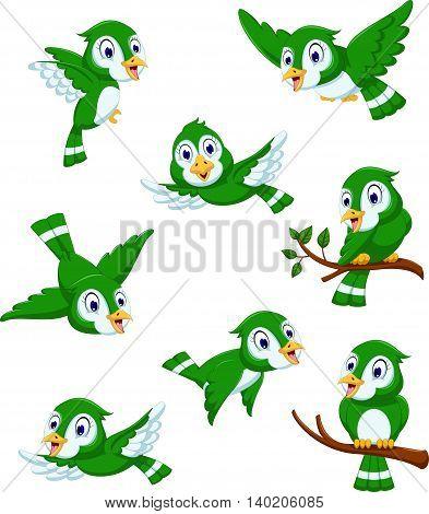 set of cute green bird cartoon posing