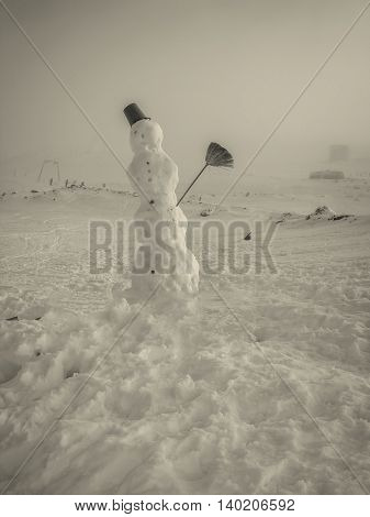 Snowman In The Mountains Ski Slope In The Background Romanian Mountains Monochrome Shoot